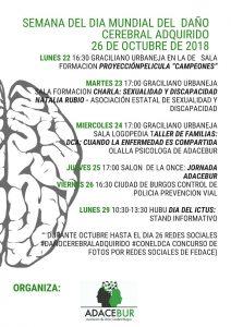 Semana del Día Mundial del Daño Cerebral Adquirido. Sexualidad y DCA - ADACEBUR (Burgos)